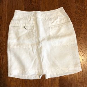 Willi Smith white linen skirt with front pockets